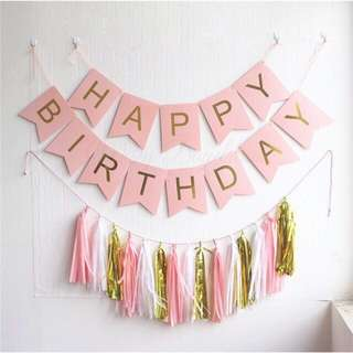 Pastel Colored HBD Banner in Gold Font