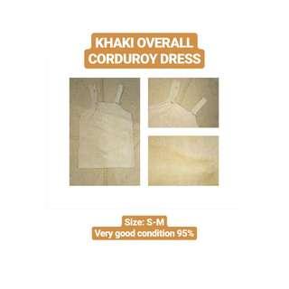 Khaki Overall Corduroy Dress
