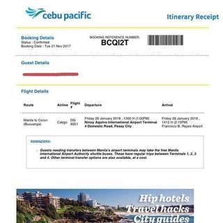 850 pesos Manila to Coron One-Way Ticket