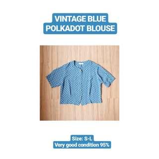 Vintage Blue Polkadot Blouse