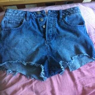 RVCA high waisted jean shorts. Size 8-10