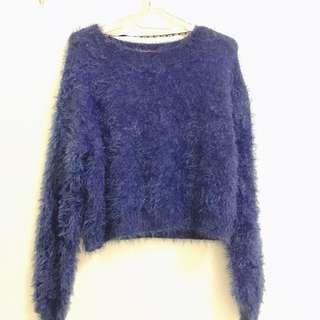 6IXTY8IGHT毛毛藍色上衣