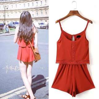 Orange Red Romper Jumpsuit