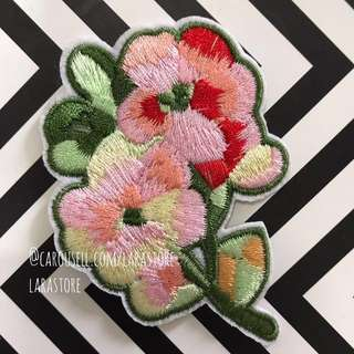 Bn flower Embroidered sew/iron on patch