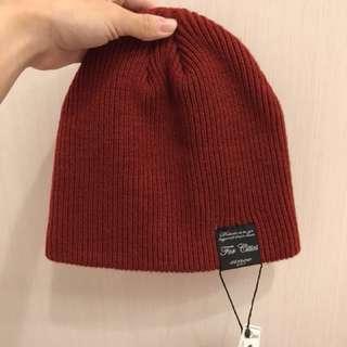 全新**冬季針織毛帽-紅色、深藍色