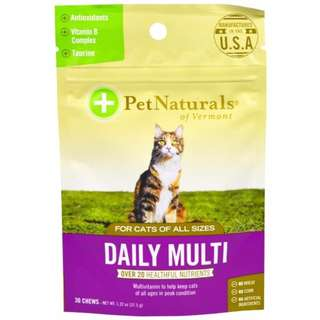 美國 PetNaturals 寶天然  綜合維他命 Daily Multi 貓咪嚼錠,貓咪保健 30顆
