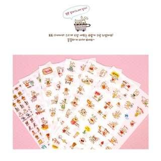 可愛韓國萌兔貼紙(一套6款)