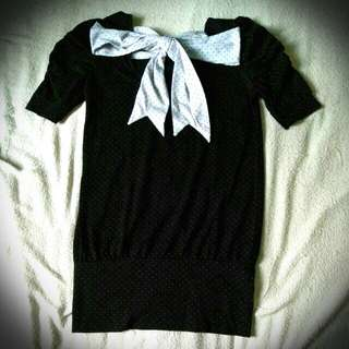Black polka bow shirt