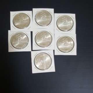 1973 SINGAPORE $5, SEAP GAMES SILVER COIN, BU/UNC