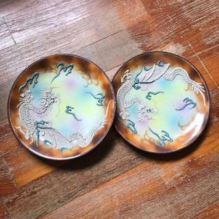 2 Dragon carving plates