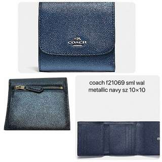 Coach Trifold Small Wallet Metallic Navy