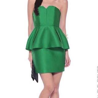 New covet by love bonito green structured peplum tube dress