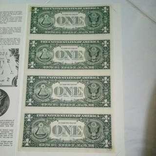 $1    ( 4  in  1 )  美元     UNC