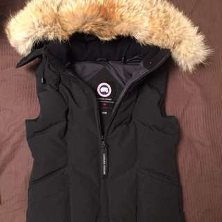 Authentic Canada Goose Women's Icicle Vest Fur Hood Black XXS