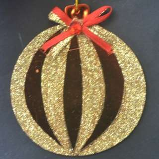 8cm Xmas Decoration ~ Copper with Gold Glitter