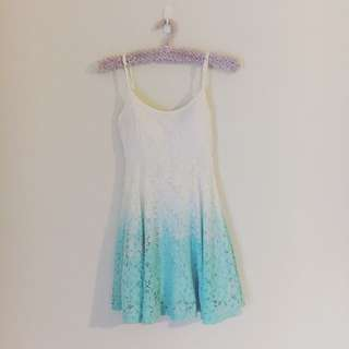 White & Turquoise Aqua Dress