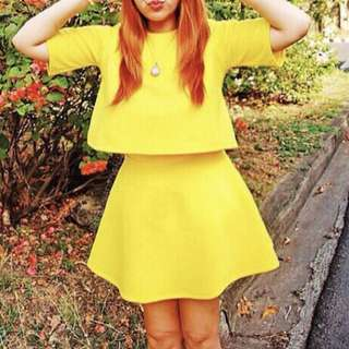 Yellow Top and Racer Skirt Coordinates (Free Size)