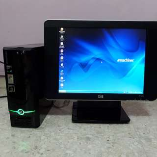 Set: Acer eMachines EL1333 with HP vp15s Monitor (in-built speaker) (Please refer to description for details)