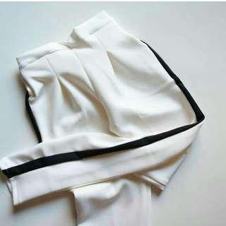 Z4RA STRIPE PANTS WHITE