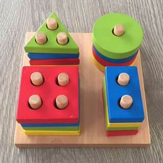 *NEW* Wooden Shapes & Colours Peg Puzzle