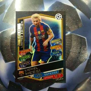 Topps Match Attax gold limited edition card(messi)