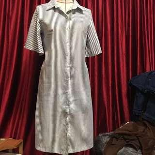韓國🇰🇷 設計款喇叭袖連身洋裝 長版襯衫洋裝