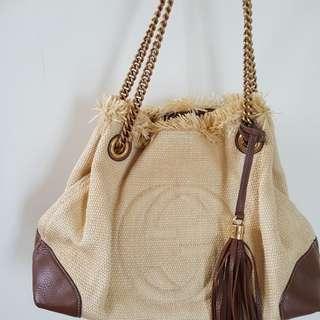 Gucci soho straw shoulder bag