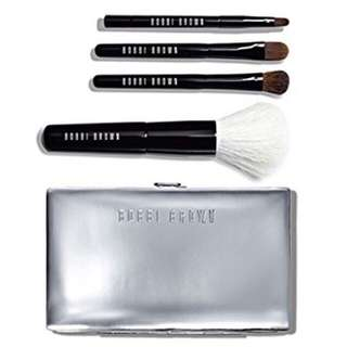 Bobbi Brown Mini Brush 4 Pcs Set W/ Silver Carrying Case