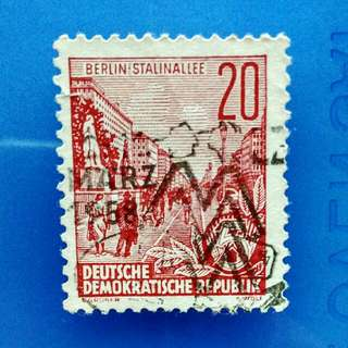 Stamp EAST GERMANY: Rare 1953 Stalin-Allee (also known as the Karl-Marx-Allee) in Berlin
