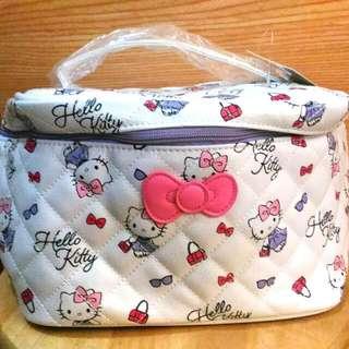 Hello Kitty 化妝箱 附鏡 凱蒂貓 三麗鷗 化妝包 置物袋 手提袋 全新 正版 授權 台灣限定 吊牌未拆 再送 面膜