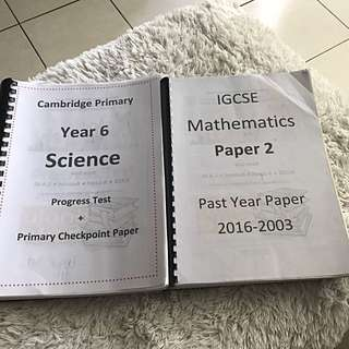 Cambridge Primary Checkpoint past years papers
