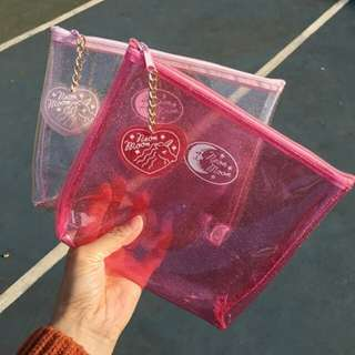(PO) sparkle pink transparent pouch 👝 | accessories