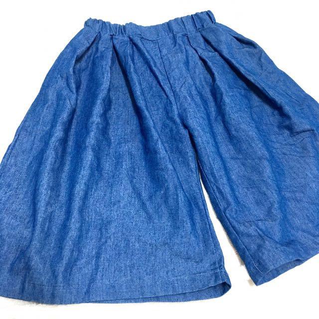女童牛仔棉布寬版褲15號
