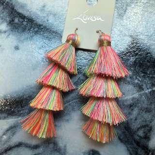 Brand New Lovisa Rainbow multi colour tiered Tasseled Statement Earrings