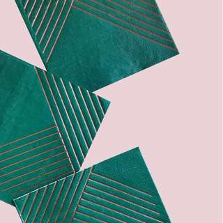 Dark Green Striped Cocktail Napkins