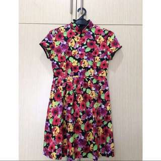Flower Cheongsam Dress