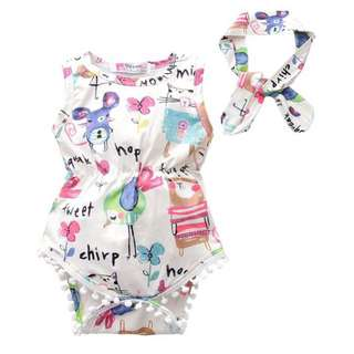 Baby Girl Cute Animal Printed Romper + Headband Set