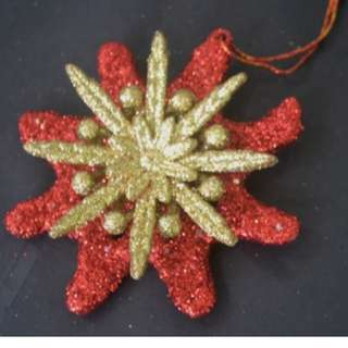 10cm (4 inches) Xmas Glitter Hanging Ornament