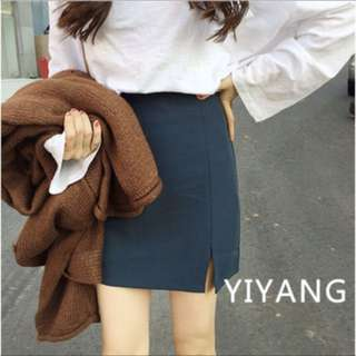 高腰顯瘦微開叉短裙(深藍)