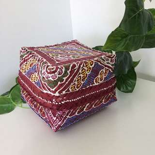 Boho Hippy Style Woven Hand Painted Storage Container