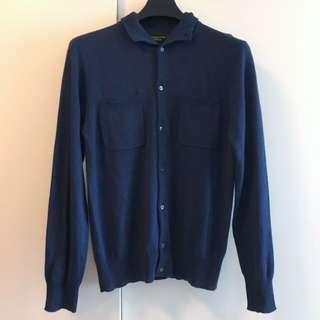 Male Cashmere-Silk Cardigan with Shou Embroidery