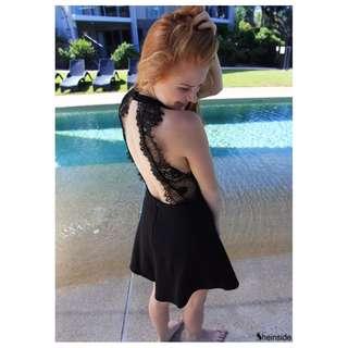 Shein♛黑色蕾絲襯露背洋裝♛ Size - S