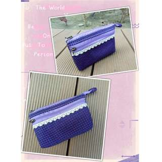 (全新)手作包五層5層蕾絲邊深紫色點點拉鍊式零錢包萬用包皮夾小包收納包收納袋
