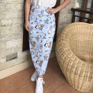 Snoopy long maxi span skirt