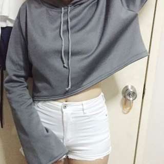 Cropped Gray Hoodie