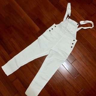 PAZZO白色吊帶褲