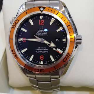 Omega Seamaster Planet Ocean Orange Bezel 45.5mm wt cert year 2008 - Our price : RM12600.00 Incl.GST - Aluminium bezel - Case size 45.5mm - With certificate year 2008