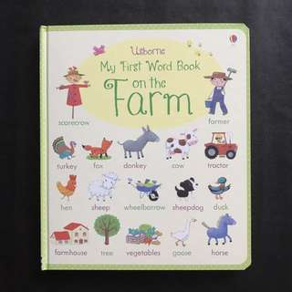 💥 NEW - Usborne- My First Word Book About Farm  - Sturdy Board Book - Children Learning Book