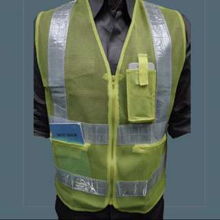REFLECTIVE SAFETY VEST with 3 POCKET ZIP