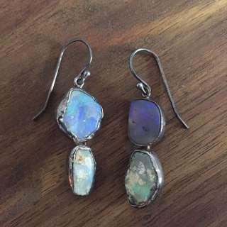 Handmade sterling silver boulder opal pendant earrings